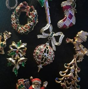 Vintage Christmas Brooch Lot Monet Gerry Avon 10pc